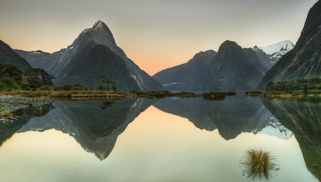 Morning glow in Milford Sound