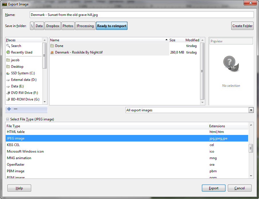 Step 20 - Gimp - Export as JPEG