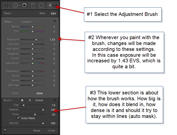 Lightroom Adjustment Brush options