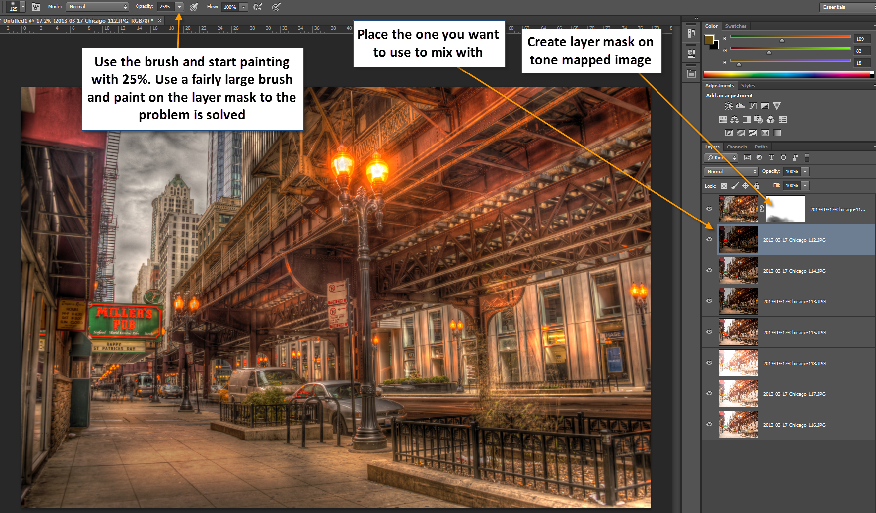 Chicago - Fixing double tone mapped in Photoshop