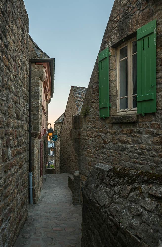 France - Deserted Alley in Mont Saint Michel