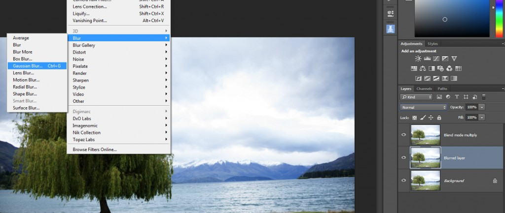 Step 3 - Select gaussian blur for the middle layer
