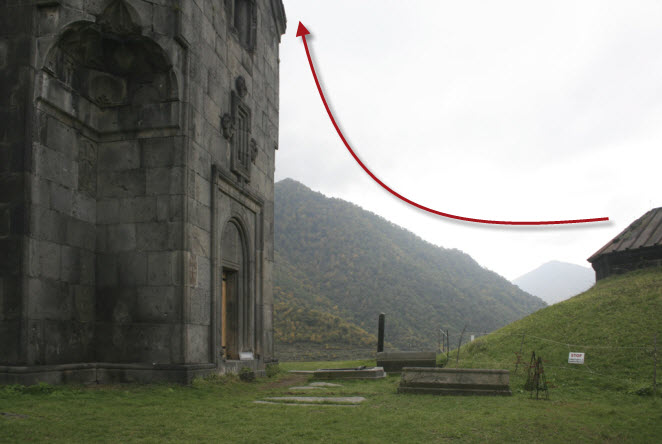 Armenia Haghpat before with arrow