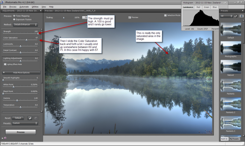 Photomatix default settings - step 2