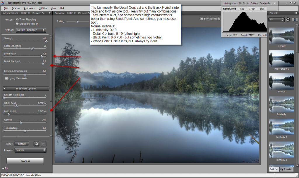 Photomatix default settings - step 3