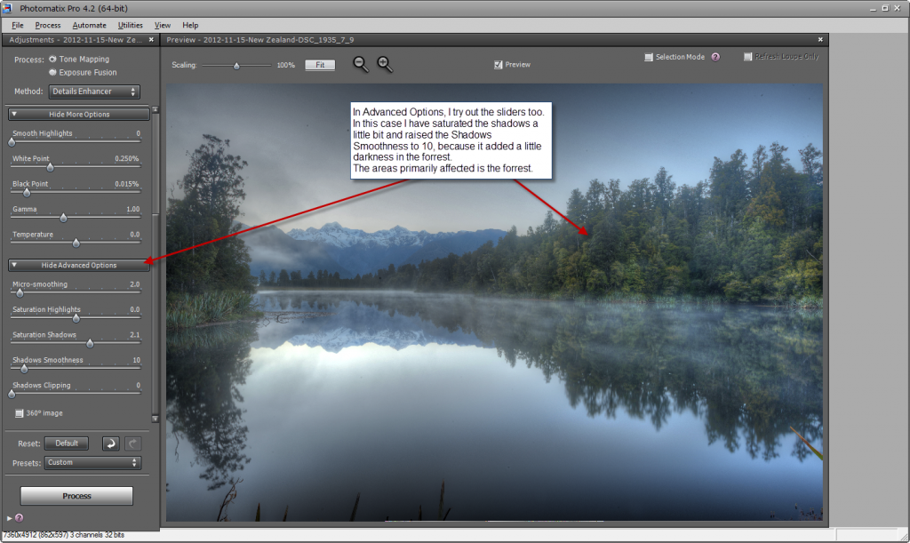 Photomatix default settings - step 6