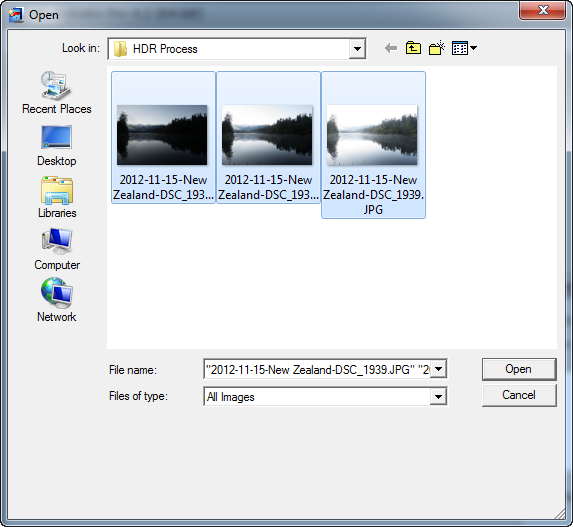 Select bracketed photos file dialog
