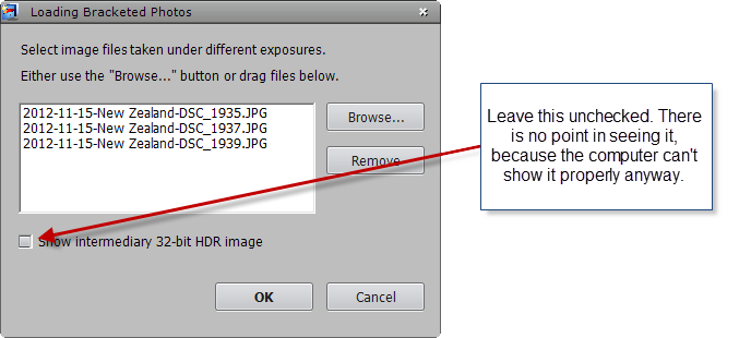 Select bracketed photos file dialog step 2
