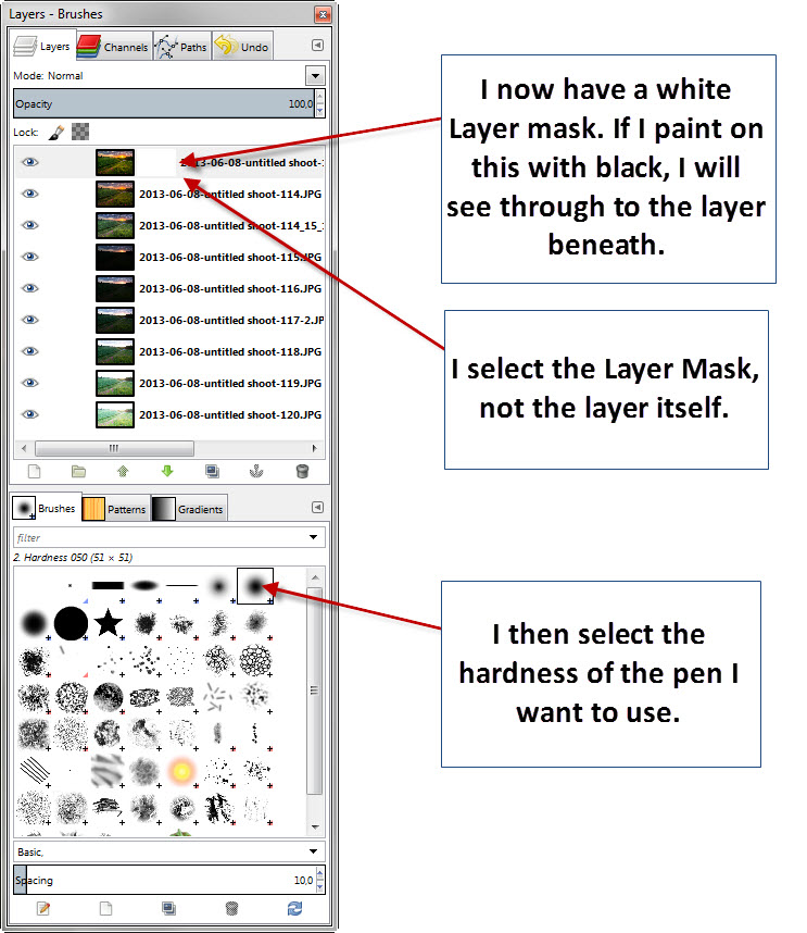 Step 05 - Gimp - Add layer mask select brush
