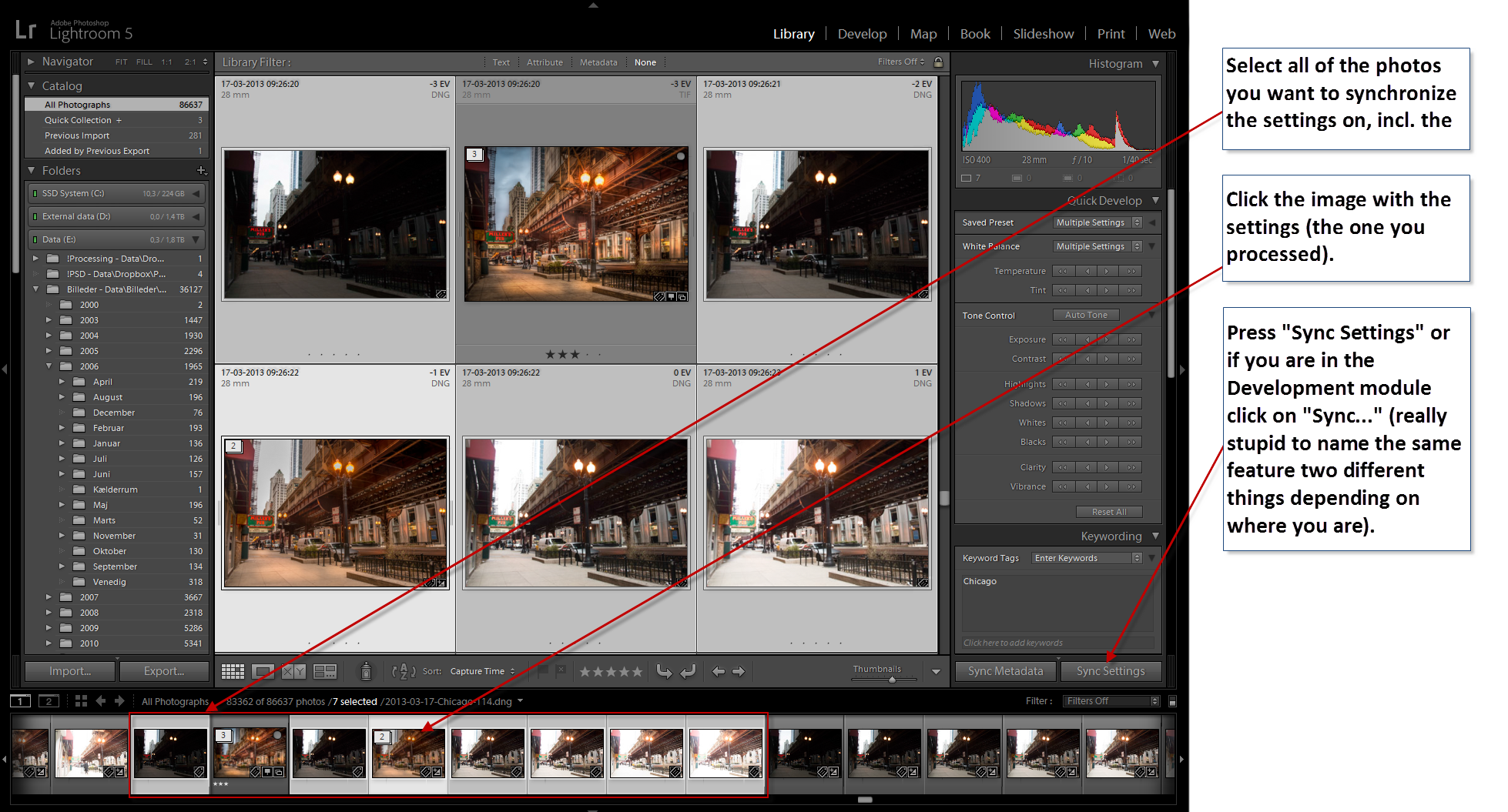 Chicago - Syncronize settings in lightroom
