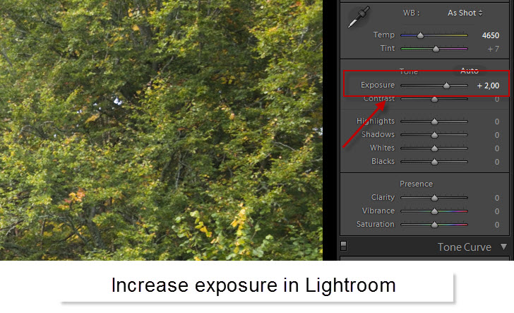 Step 12 - Change exposure to overexposed