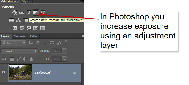 Step 13 - Changing exposure in Photoshop