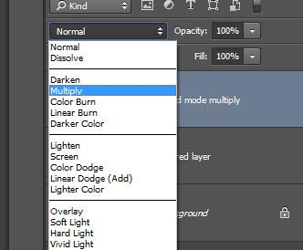 Step 2 - Set blend mode to multiply