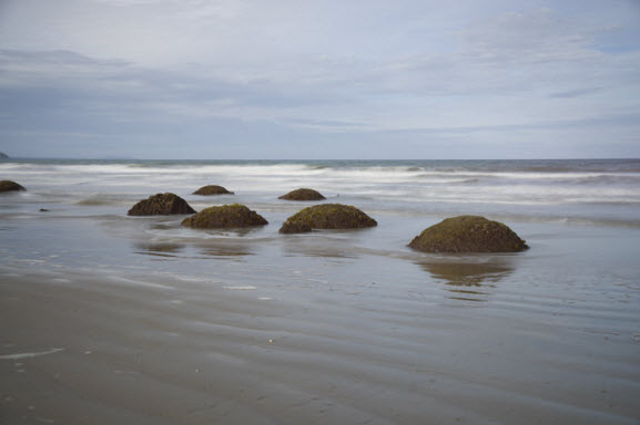 Moeraki boulders before